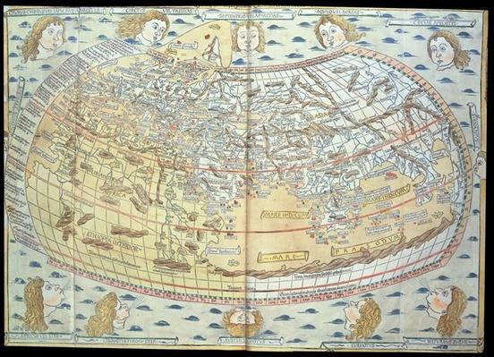 Map of the world, based on descriptions and co-ordinates given in 'Geographia', first published in Ulm, Germany