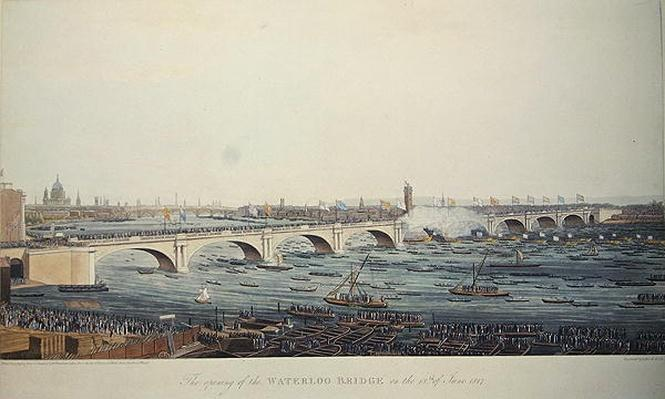 The Opening of the Waterloo Bridge on the 18th of June, 1817, etched by A. Pugin from a drawing by W. Findlater, engraved by R. Havell & Son, 1818