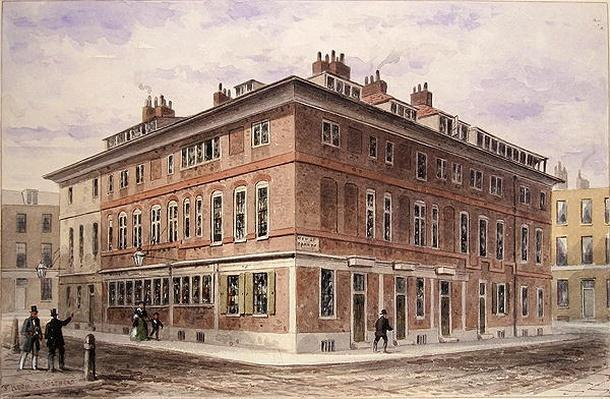 Old House in New Street Square, bequeathed by Agar Harding to the Goldsmith's Company, pulled down in 1852