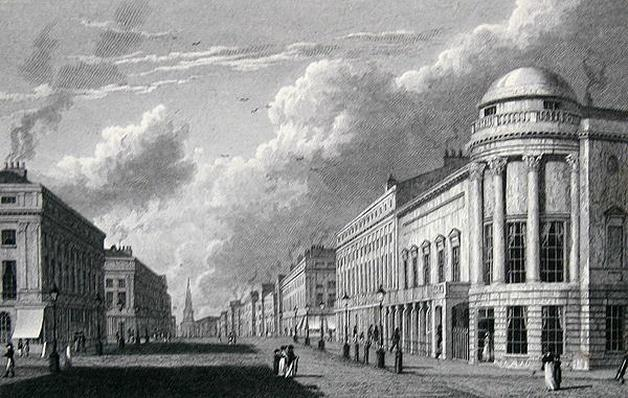 Regent Street, with the Argyle Rooms, engraved by Charles Heath, 1825