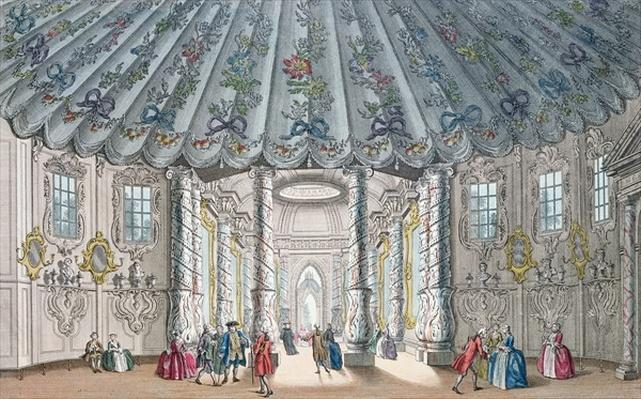 Interior View of the elegant music room in Vauxhall Gardens, engraved by H. Roberts, 1752
