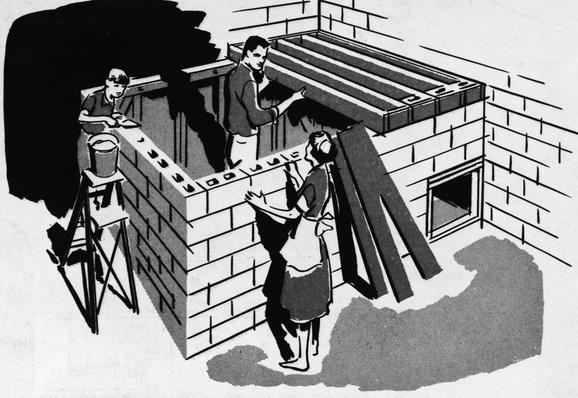 Illustration Of Family Building Fallout Shelter | The Cold War | The 20th Century Since 1945: Postwar Politics