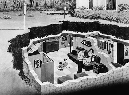 Illustration Of Underground Bomb Shelter | The Cold War | The 20th Century Since 1945: Postwar Politics