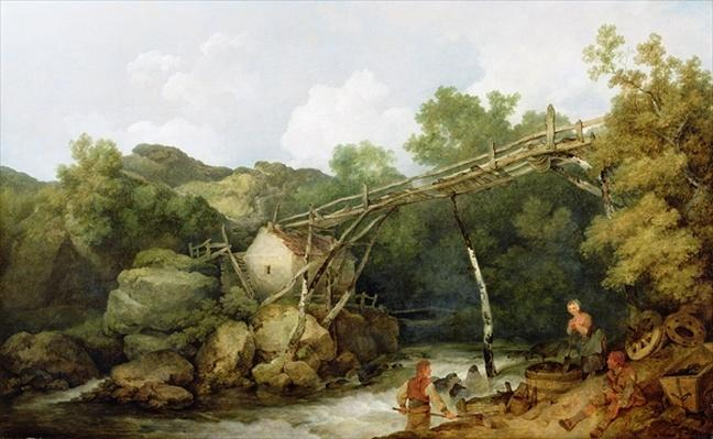 A View near Matlock, Derbyshire with Figures Working beneath a Wooden Conveyor, 1785