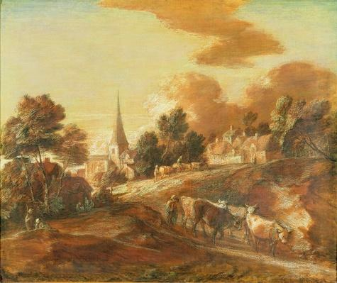 An Imaginary Wooded Village with Drovers and Cattle, c.1771-72