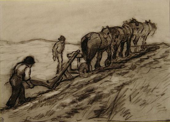 Ploughing the Hillside, c.1905