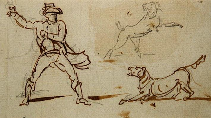 A Man throwing a Ball to a Dog
