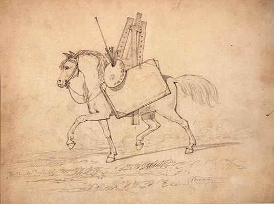A Horse loaded with Artist's paraphernalia, walking to the left