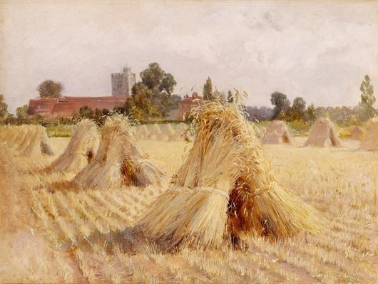 Corn Stooks by Bray Church, 1872