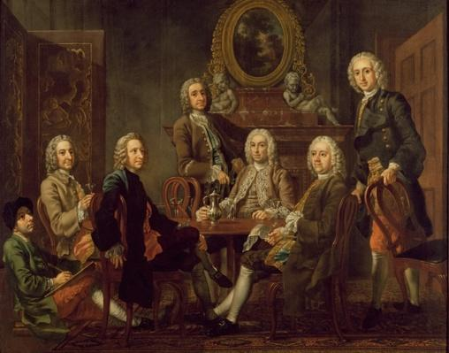 Portrait of a group of gentlemen, with the artist, c.1745