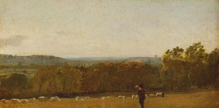A Shepherd in a Landscape looking across Dedham Vale towards Langham, c.1810