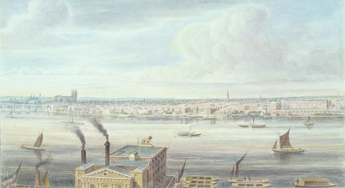 A fine View of London from Westminster Bridge to the Adelphi, 1837
