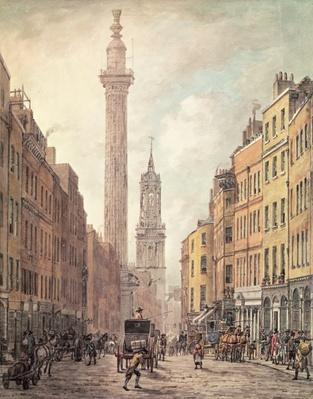 View of Fish Street Hill, Monument and St. Magnus the Martyr from Gracechurch Street, London, 1795