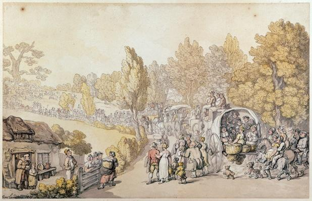 Cartoon depicting country folk leaving for the town, 1818