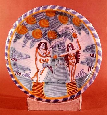 Dish depicting Adam and Eve