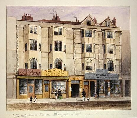 An old House called the Half Moon Tavern, on the West side of Aldersgate Street, 1852