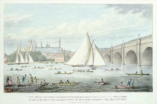 View of Westminster and the Bridge, with a Sailing Match, 1830