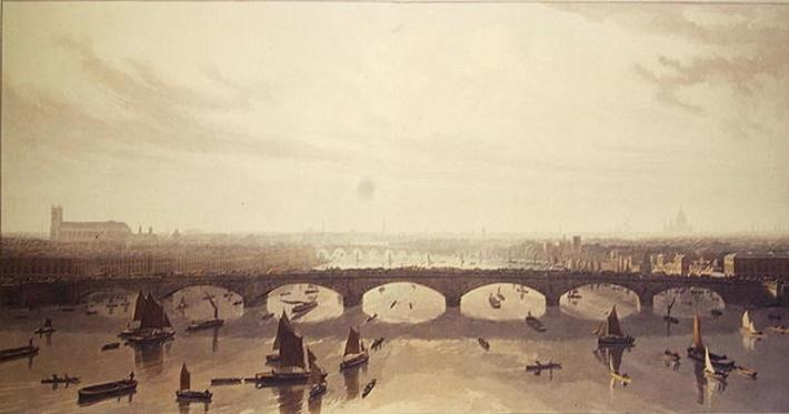 View of the Bridge now building over the Thames at Vauxhall, 1820
