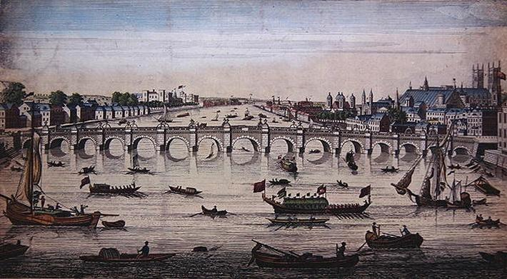 Westminster Bridge, looking westward, published by J. Bowles, 1747