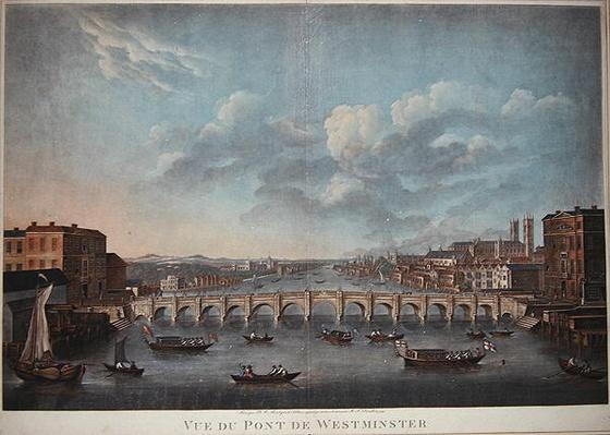 'Vue du Pont de Westminster', looking westward, from an original Picture in the Cabinet of Monsr T.M. Drouhin, 1799