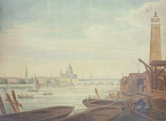 View of the Temple, St. Paul's, and Blackfriars Bridge, from Maltby's Shot Manufactory, 1760