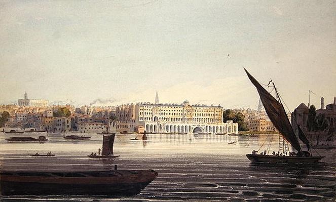 View of the River Front of New Somerset House, from Bankside, 1796