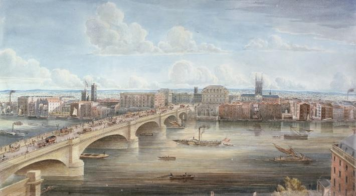 Another View of New London Bridge, showing the West Front, looking towards Southwark, and giving a distant View of Surrey, 1838