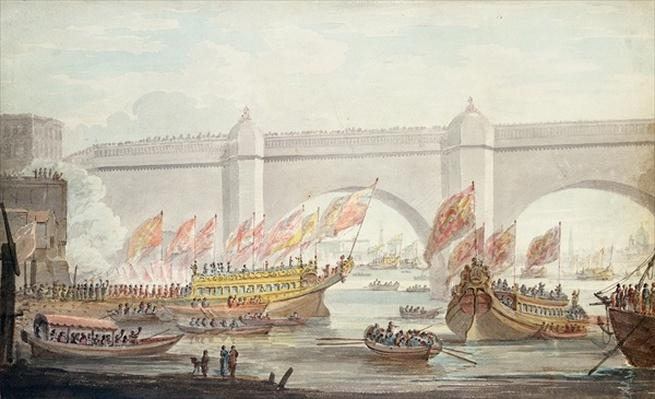The Lord Mayor landing at Westminster, with a View of the Bridge, 1840