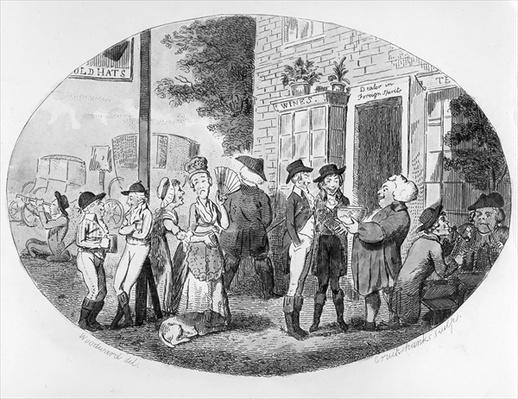 Outside the Old Hats Tavern, engraved by Isaac Cruikshank, 1796
