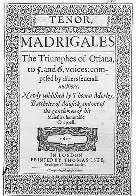 Cover to the Tenor part of 'The Triumphes of Oriana', published by Thomas Este, 1601