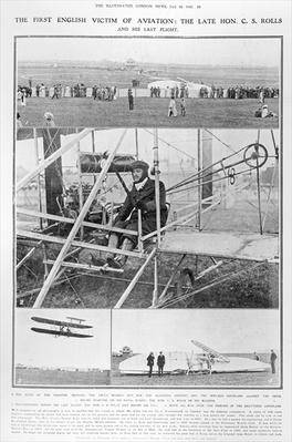 The first English victim of aviation: the Late Hon. C.S. Rolls, and his last flight, from The Illustrated London News, July 16, 1910
