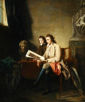 Portrait of a Man and a Boy looking at Prints, c.1765-70