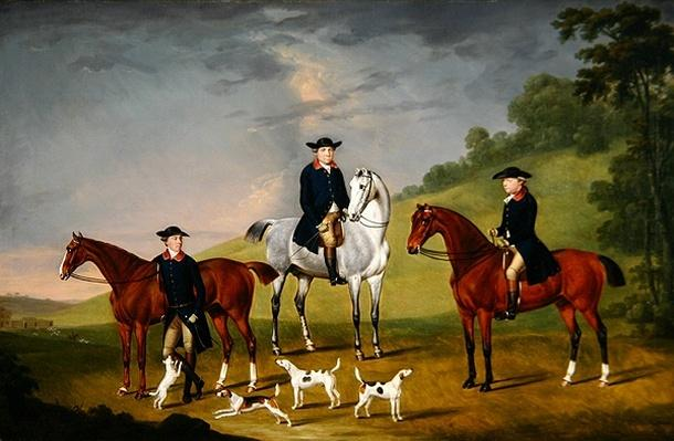John Corbet, Sir Robert Leighton and John Kynaston with their Horses and Hounds, 1779