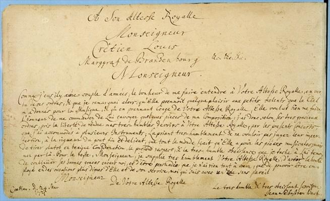 Handwritten dedication of 'Brandenburger Concertos' to Christian Ludwig, Margrave of Brandenburg 24 March 1721