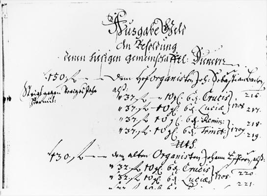 Excerpt from J.S. Bach's salary payment for 1708-09