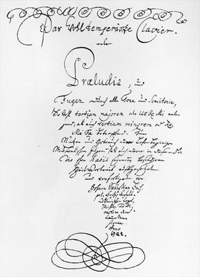 Handwritten Titlepage of The Well Tempered Piano, 1722