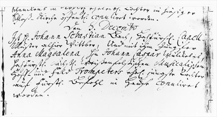Register of Bach's wedding to Anna Magdalena Wickeln in the Rectory of the Jacobskirche, Koethen, 3rd December 1721