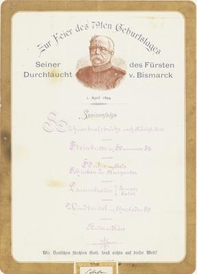 Menu at Prince von Bismarck's 79th Birthday Celebration on the 1st April 1894