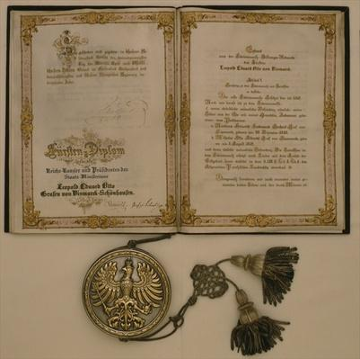 Prince Diploma for the Chancellor of the North German Confederation and the Minister-President of Prussia Leopold Eduard Otto Count von Bismarck-Schoenhausen, on the 23rd April 1873