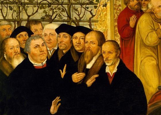 Epitaph of Meienburg's Mayor showing the reformers' group with Martin Luther, Philipp Menanchton, Caspar Cruciger, Justus Jonas, Erasmus von Rotterdam and Johannes Bugenhagen