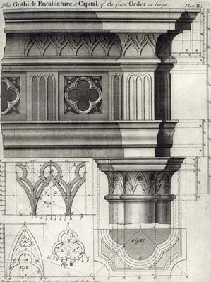 The Gothic Entablature and Capital of the First Order at large, 1741