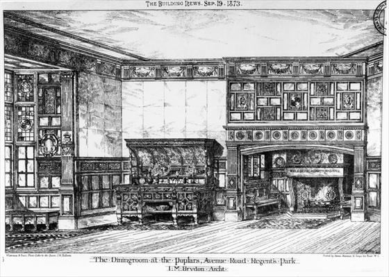 The Dining Room at the Poplars, Avenue Road, Regents Park, from 'The Building News', 19th September 1873