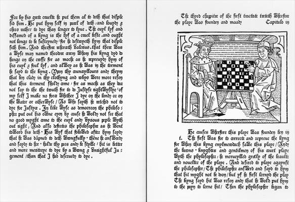 Pages from the English translation of 'De Ludo Saccorum' by Jacques de Cessoles, including an illustration of two people playing chess, c.1483
