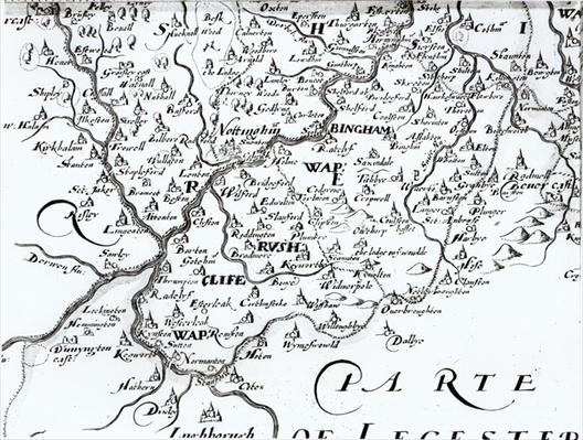 Detail of a map of the county of Nottinghamshire showing the town of Nottingham, 1642
