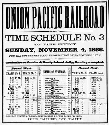 19th C Train Schedule | The Wild West is Tamed (1870-1910) | U.S. History