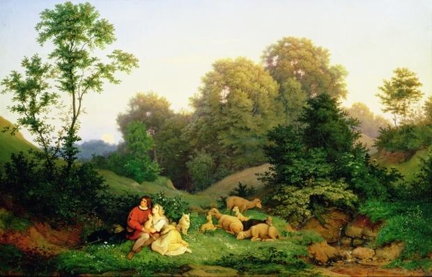 Shepherd and Shepherdess in a German landscape, 1844