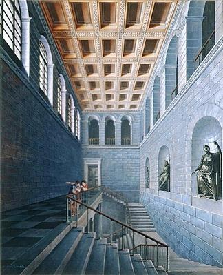 Interior view of a staircase, design for a castle in Koestritz, 1802-03