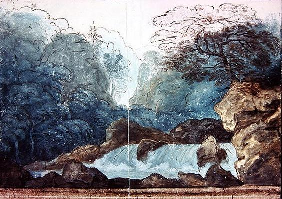 Waterfall in a wood, set design for a production of 'Undine',