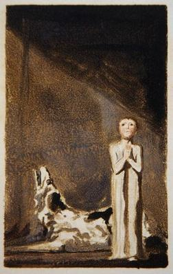 The First Book of Urizen, plate 24, A boy in a long dress, standing with clasped hands to the right of a dog, 1794