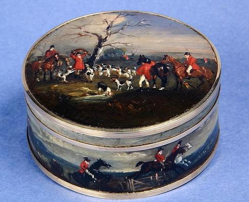 Lord Edward Thynne's Gold Snuff Box painted with Foxhunting scenes, 1832-33